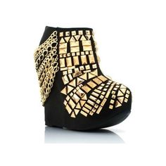 Rivoli Black Women Punk Gold Stud Chain Ankle Booties Boot Wedge Rock... (€120) ❤ liked on Polyvore featuring shoes, boots, ankle booties, platform wedge boots, platform wedge booties, platform ankle booties, platform boots and black platform boots