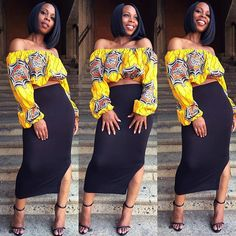 Beautiful crop top off shoulder ankara top styles and designs, trendy and latest ankara crop top ankara styles, off shoulder ankara top designs and styles Unique Ankara Styles, Ankara Styles For Women, Latest Ankara Styles, African Attire, African Wear, African Dress, African Outfits, African Style, African Clothes