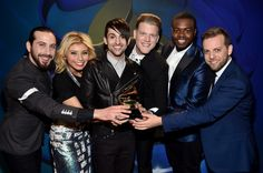 Best Arrangement, Instrumental Or A Cappella GRAMMY winners Pentatonix backstage at the 57th Annual GRAMMY Awards Premiere Ceremony on Feb. 8 in Los Angeles