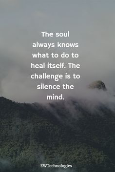 'The soul always knows what to do to heal itself. The challenge is to silence the mind' - Caroline Myss