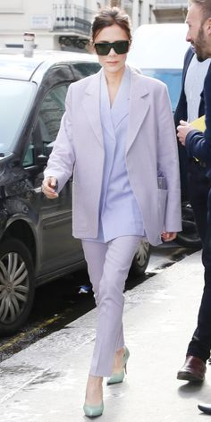 Victoria Beckham put together a flawless spring look with lilac separates that she designed herself. Mint heels made the pastel look even chicer.