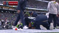 Doug Baldwin comforting Tyler Lockett after breaking his leg in the Cardinals @ Seahawks game 12/24/16.