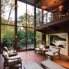 About architecture, interior and exterior design Casa Loft, Loft House, Design Exterior, Interior And Exterior, Interior Balcony, Interior Paint, Future House, Big Windows, Ceiling Windows