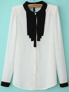 White Long Sleeve Pleated Chiffon Blouse