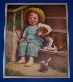 VINTAGE ANTIQUE 1937 PRINT OF LITTLE FISHER BOY AND PUPPY BY ANNIE BENSON MULLER Vintage