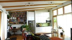This is a 704sf, totally open plan, totally awesome little house in Portland, OR. I love this design, and it would be really adaptable for a family as well.