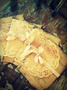 Wedding Invitation Handmade Hand stamped Shabby Chic Country Chic doilies doily. $7.00, via Etsy.