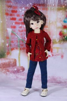 Red ChristmasT shirt and Blue Sparkle Leggings set by windwoman21