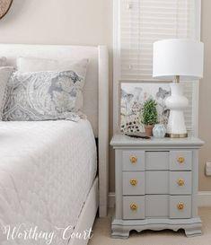 How to update traditional nightstands. #masterbedroomideas #masterbedroomdecor #masterbedroommodern #masterbedroomcozy#masterbedroombedding #masterbedroomneutral #updatedtraditional