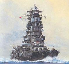 A splendid painting of IJN Nagato at speed.