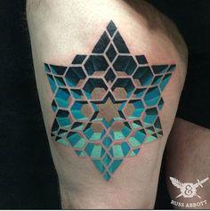 Geometric Tattoo by Russ Abbott. #inked #inkedmag #tattoo #geometric #star #3d…