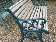 Cast Iron Benches By Shed Craft.... 4ft garden bench in green & cream