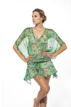 Colorful island-inspired sheer caftan is made of luxurious silk and is slightly sheer Made in Colombia Beachwear, Swimwear, Palm, Cover Up, Summer Dresses, Color, Fashion, Beach Playsuit, Bathing Suits