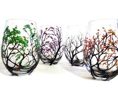 Four Seasons Hand Painted Stemless Wine Glass Set with Trees by LKCustomCreations www.LKCustomCreations.Etsy.com