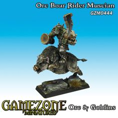 Gamezone Miniatures: Gamezone Miniatures: Orcs and Goblins - Orc Boar Rider Musician (1)