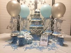 Baby Shower Diaper Cake Centerpiece Bundle for Baby Boy - Blue and Gray by ChicBabyCakes on Etsy