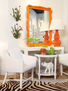 an hermes orange mirror is so chic Palm Beach Decor, Beach Chic Decor, Interior And Exterior, Interior Design, Home Decor Signs, Cozy Living Rooms, Decoration, Room Inspiration, Room Decor