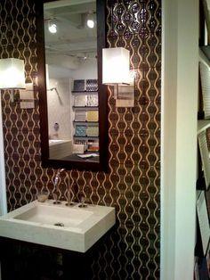 Serene ceramic tile wall pattern for powder room. #tile #pattern #interiordesign #architecture #handpainted #custom