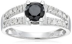 10k White Gold Split Shank Black and White Diamond Ring 1 cttw Size 8 -- Find out more at the image link.