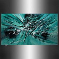 GROS oeuvre peinture abstraite sur toile, Teal Turquoise acrylique moderne abstrait peinture beaux-arts contemporains sur la toile par Maitreyii