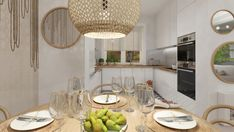 PARTER W STYLU SCANDI-BOHO Interior Rendering, Interior Design, Boho, Kitchen, House, Home Decor, Nest Design, Cooking, Decoration Home