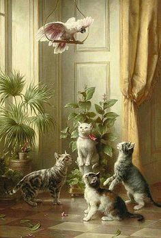 Carl Reichert  Cats and the Cockatoo  1898