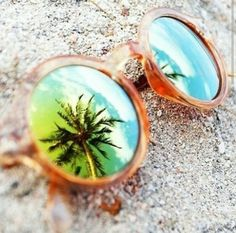 Round sunglasses summer sky beach glasses sun palm trees reflection mirror
