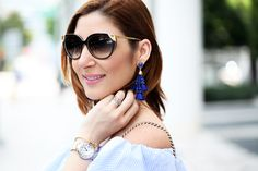 Blame it on Mei Miami Fashion Blogger 2016 Spring Outfit Look Off The Shoulder Dress Stripes Baublebar Cannes Earrings Gucci Soho Crosbody Lace Up Sandal Miniature Pinscher How to style a flowy casual dress Summer dress How to style lace up sandals