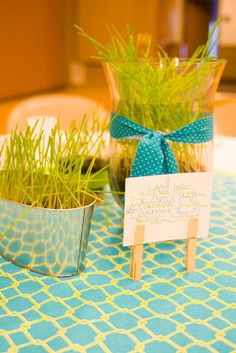 "Click here to see the 2013 RS Birthday Dinner! Krystal and I were asked to do the table decorations for this year's Relief  Society Birthday dinner. We came up with the theme,""Growing Together"". We  planted grass a month in advanced and picked out the colors.    For another part of"