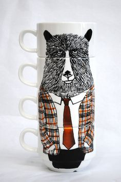 Geography Teacher Bear stacking cups by Jimbobart - easily one of my favorite @Etsy sellers ever. #gifts #tea #coffee #mugs #art