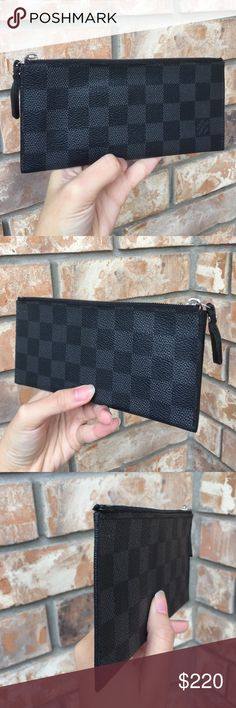 Louis Vuitton pouch wallet Authentic. Date code MI0510. Can fit cards and bill without folding. There are tiny cracks along the trim (see pic) but its hard to see and not affect the usage. Zipper run smoothly. Perfect for grab-and-go wallet Louis Vuitton Bags Wallets