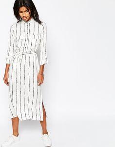 Image 1 ofASOS Maxi Shirt Dress with Patch Pocket Detail