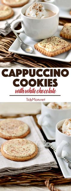 These CAPPUCCINO COOKIES taste just like they were dunked in coffee, and will make your house smell like you walked into a Starbucks. Made with instant cappuccino, and topped with white chocolate.they are insanely delicious. Get the cookie recipe Cookie Desserts, Just Desserts, Delicious Desserts, Dessert Recipes, Cookie Cups, Raw Desserts, Plated Desserts, Cookie Dough, Best Cookie Recipes