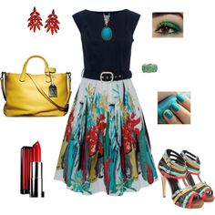 I really like that dress... a pop of color for a cloudy day.