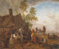 Unsigned (circle of Philips Wouwerman?), a halt with travellers and animals resting, oil on panel, 1