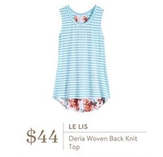 Love the stripe and floral mix! Le Lis Deria Woven Back Knit Tank Top from Stitch Fix Summer 2016