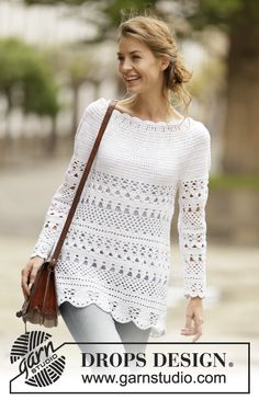 Crochet DROPS jumper with lace pattern and round yoke, worked top down in Cotton Light. Size: S - XXXL.
