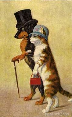 dachshund & cat vintage - funny, it looks like Willie and Cali  :)