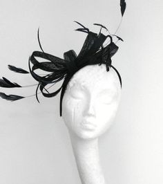 Black  Fascinator Hat for Weddings Races and by Hatsbycressida, $90.00