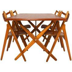 Hans J. Wegner Dining Set Table AT303 and Sawbuck Chairs 1