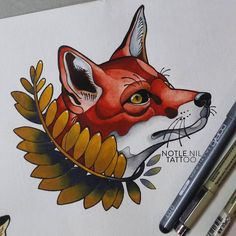 Fox tattoo flash. Notle Nil Tattoo.