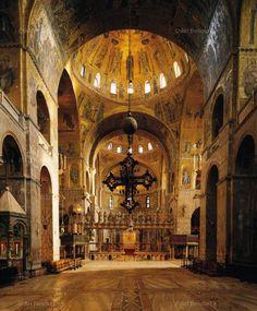 , 11th century CE, Architecture, Basilica, Byzantine (c.395-1453), Dome, Interior, Architectural, Italian, Mosaic