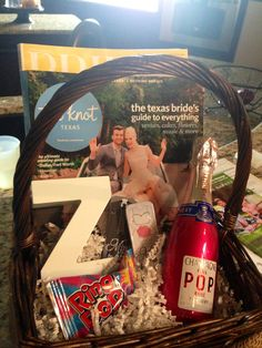 """Engagement Gift Basket: bridal magazines, champagne, ring pop, letter of bride's new last name, """"mint"""" to be mints."""