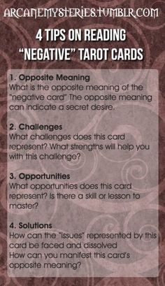 "arcanemysteries:  Four Tips On Reading ""Negative"" Tarot Cards."