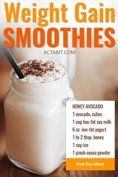 Make high-calorie but healthy weight gain smoothies with avocado, soy milk, and . Make high-calorie but healthy weight gain smoothies with avocado, soy milk, and yogurt. Smoothie Proteine, Avocado Smoothie, Fruit Smoothies, Healthy Smoothies, Healthy Drinks, Breakfast Smoothies, Healthy Recipes, Making Smoothies, Healthy Protein