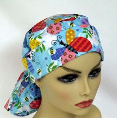 Womens Pony Pouch Surgical Scrub Hat Chemo Head by ScrubsbyEdie