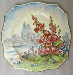 ROYAL WINTON HAND PAINTED ARTIST SIGNED F. PHILLIPS SQUARE PLATE FOXTAIL CHINTZ in Pottery & Glass, Pottery & China, China & Dinnerware, Royal Winton/Grimwades | eBay