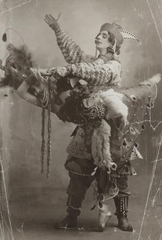 zolotoivek:  Mikhail Fokin and Tamara Karsavina in the first performance of Igor Stravinsky's The Firebird by the Ballets Russes with costumes designed by Leon Bakst, 1910.