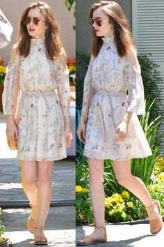 Lily Collins wearing a Rachel Zoe floral dress and ankle-strap sandals at Jennifer Klein's Annual Day of Indulgence Party Lily Collins Casual, Lily Collins Hair, Lily Collins Style, Sexy Dresses, Casual Dresses, Casual Outfits, Floral Dress Outfits, Tall Girl Fashion, Girl Outfits
