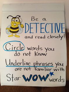 Be a DETECTIVE and read closely! Anchor chart. Photo only!